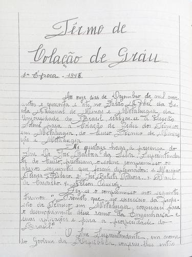 Termo de colação de grau 1ª época - 1948