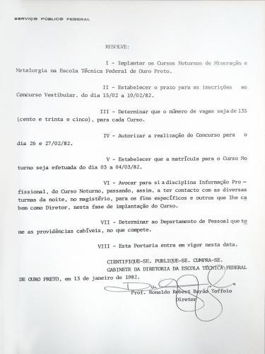Portaria nº 15 de 13 de janeiro de 1982 institui a criação dos Cursos Técnicos de Mineração e de Metalurgia  noturnos na ETFOP (Parte 2)