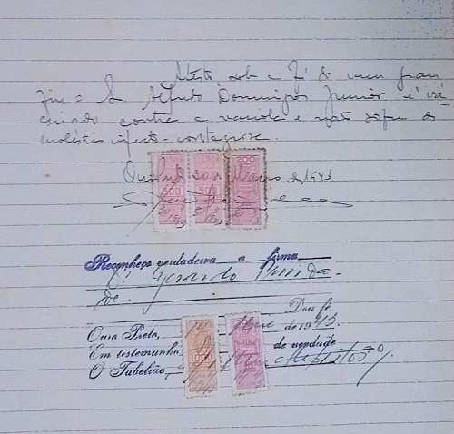 Ficha de Matrícula - Vestibular 1943 Crédito: Laboratório de Memória Institucional e Pesquisa Histórica – IFMG – Campus Ouro Preto